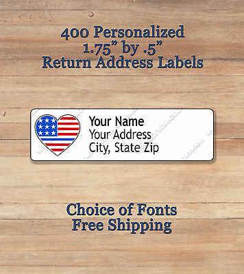 400 Personalized Self Adhesive Printed Return Address Labels ~ Thin Blue Line