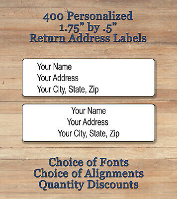 400 Plain Personalized Self Adhesive Printed Return Address Labels Center Align
