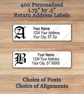 400 Personalized Printed Old English Gothic Monogram Return Address Labels