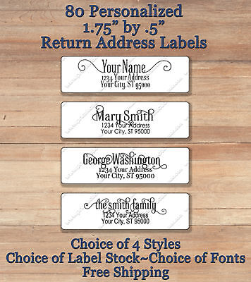 80 Personalized Printed Peel & Stick  Return Address Labels ~ Elegant Script 2
