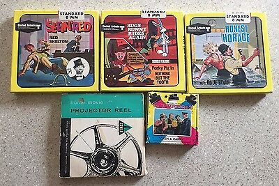 8 mm lot of 5 films - 3 Stooges, Bug Bunny Porky Pig, Honest Horace, Red Skelton