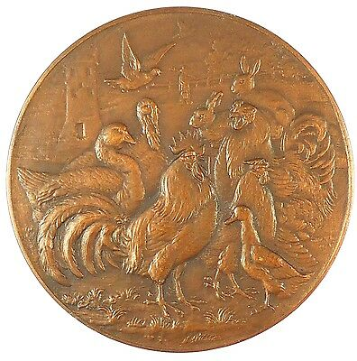 POULTRY AND SMALL ANIMALS trial striking bronze 50mm by Massonet