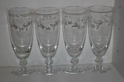 "4 Vintage Tiffin ""dolores"" Laurel Etched Glass 7"" Iced Tea Goblets"