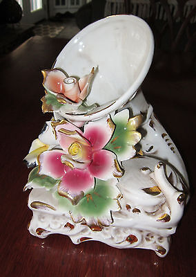 """Vintage Capodimonte Porcelain Phonograph With Pink & Yellow Flowers RARE 8""""X6""""X8"""