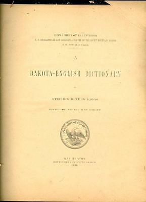Dept of the Interior Dakota-English Dictionary by Stephen Return Riggs 1890