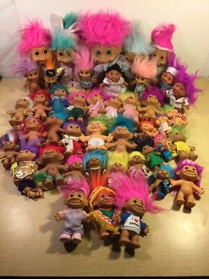 Lot Of 46 Vintage RUSS DAM ACE Collectible Troll Dolls Various Sizes And Colors