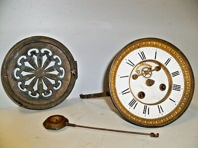 Antique French Outside Escapement Clock Movt W Pend & Back