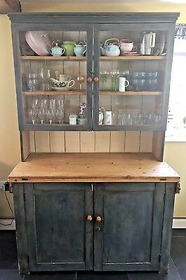Victorian Pine Painted Dresser Cupboard Cabinet Kitchen UK DELIVERY AVAILABLE