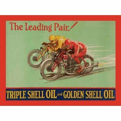 "Original Metal Sign Co Shell Oil The Leading Pair Sign Vintage Advert 8"" x 6"""