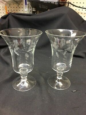 PartyLite (2) Holly Leaf Etched Glass Pillar Candle Holders ,Christmas