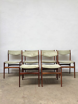 Vintage set of 6 Teak Danish Dining Chairs by Erik Buch. Retro Mid Century
