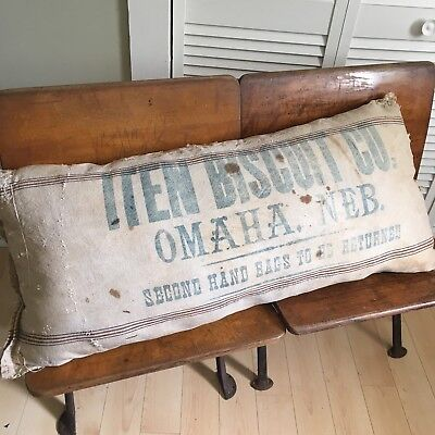 Antique Vintage Grain Sack Pillow Bakery Primitive Farmhouse Flour Old Nebraska