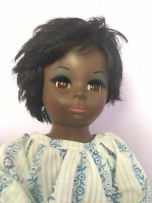 Doll Antique 1960's Mod Style. Model of American Girl. Black hair perfect makeup