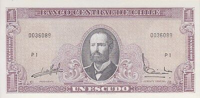 CHILE BANKNOTE P# 136 b I ESCUDO SERIE P UNCIRCULATED USA SELLER