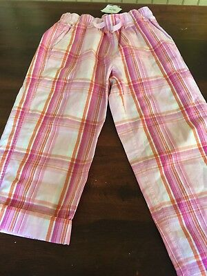 New HANNA ANDERSSON Pink Plaid capri pants OR long Pants - Sz 10 (140) NWT