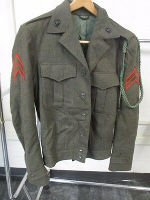 Vintage Wool Adult Dark Green Armed Forces Jacket with Patches
