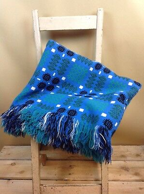 Vintage Welsh Tapestry Wool Blanket Turquoise 72x86 Inches Stunning Colours