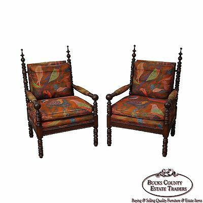 Antique Victorian Gothic Revival Pair of Spool Turned Walnut Arm Chairs