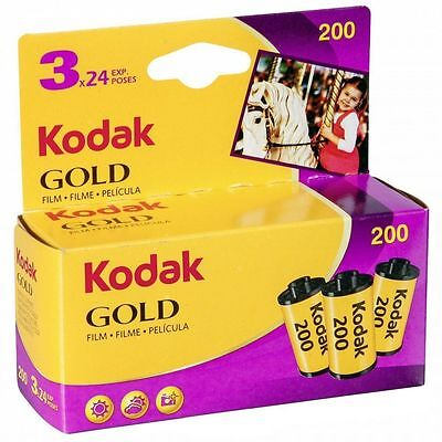 3 Rolls Kodak Gold 200 35mm Color Negative Film 24 Exposures, FRESH DATED