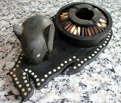 Porcupine Quill Wooden Ashtray And Elephant On Tray/ Stand