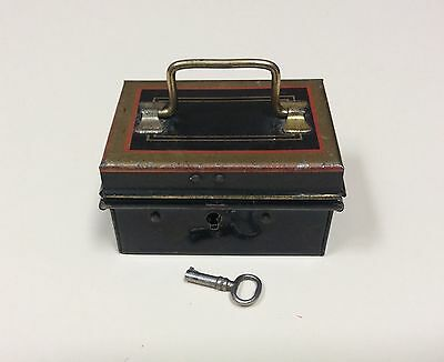 Antique Miniature Tole Strong Box with Original Key 3 inches