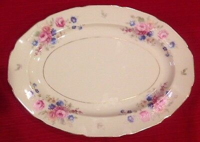 Heinrich Co 12955 Dresden Flowers Small Platter Ivory w Gold Trim Germany