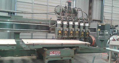 Heian 3 Axis CNC Router with 6 Spindles and Dual 4'x8' tables