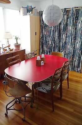 Mid-Century Modern Danish Dining Room Table - Red Formica & Chrome Plated Steel