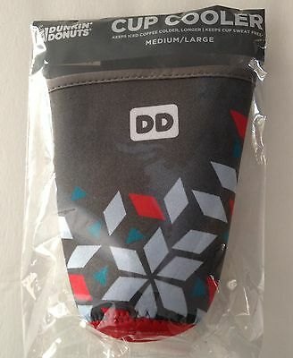 1`Dunkin Donuts MEDIUM/LARGE Cup Cooler Koozie Gray Pattern New 2016 PLEASE READ