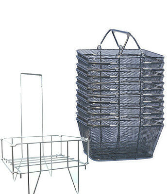 Lot of 12 | BLUE Wire Mesh Store Shopping Baskets + Metal Display Stand