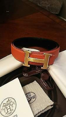 MEN's ORANGE LEATHER HERMES BELT 90CM Reversible With Nice HERMES stamped Buckle
