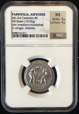 Ancient Greek Olympic Wrestlers - Pamphylia, Aspendus Silver Stater NGC MS