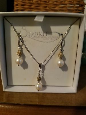 Sterling Silver Pearl Earring and Necklace set