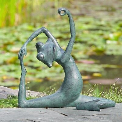 Limber Yoga Frog Garden Decor Sculpture Aluminum Lawn Ornament,15.5'' X 16.5''H