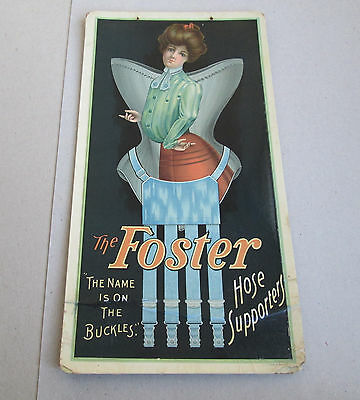 Vintage early Foster Hosiery Hose Supporters rare Pulveroid Advertising sign