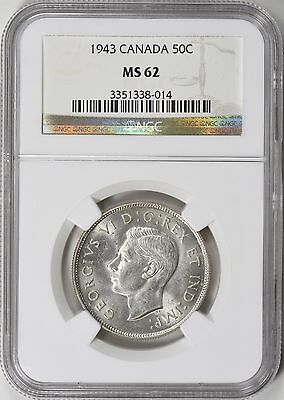Canada 1943 Silver 50 Cents NGC MS-62