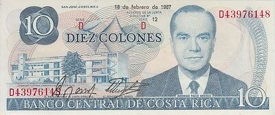 Costa Rica Banknote P# 237 10 Colones 1987  Two Consecutive Number Uncirculated