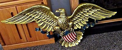"""Large Syroco American Gold Eagle Plaque 3762 Wall Hanging Art 46"""" Vintage 1958"""