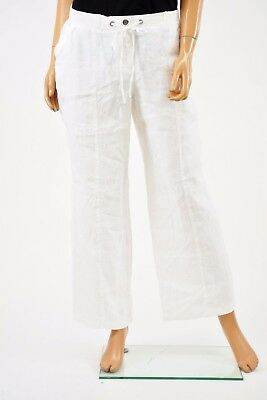 JM Collection Women's 100% Linen White Drawstring Waist Pull On Casual Pant 12