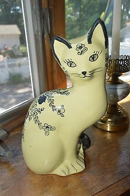 """Vintage Porcelain Hand Painted 10"""" Cat Figurine Made in Italy Floral Accents"""