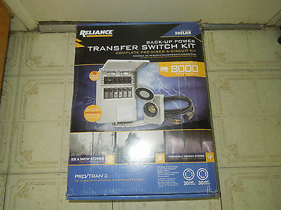 Reliance Back-Up Power Transfer Pre-Wired 6-Circuit Switch Kit 306LRK New in BOX