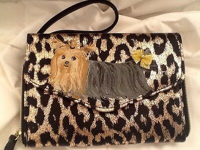 ❤️Yorkie Yorkshire Terrier Dog Hand Painted Wallet Handbag Purse Clutch artbyuta