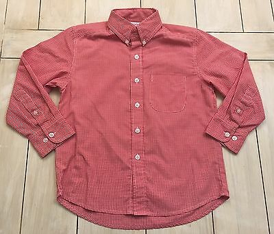 MOM & ME Red White Gingham Long Sleeve Button Front Shirt ~ Size 5 ~
