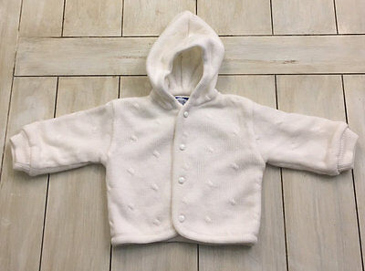 CARRIAGE BOUTIQUES Ivory Hooded Cardigan Sweater Coat ~ 6 Months ~