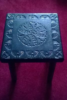 Beautiful Antique Ebonized Carved Stool