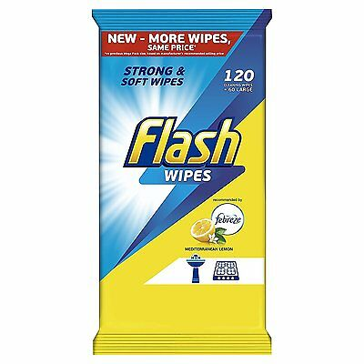 Flash Strong Weave 120 Wipes Mediterranean Lemon Fast and Powerful Cleaning NEW