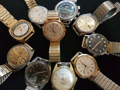 Lot 10 Working Mens Watches-Vintage