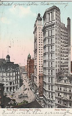 (E) New York City, NY - Bird's Eye View of Park Row - Featuring Post Office