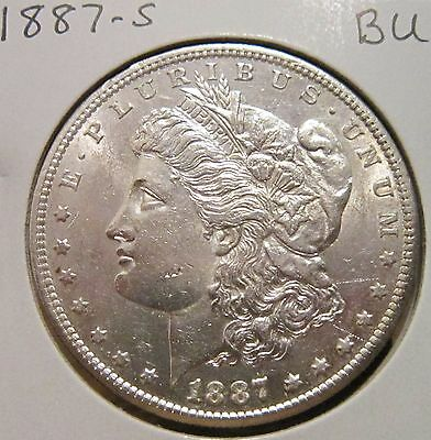 1887-S Morgan Silver Dollar Bu Rare High Grade Key Date Us Silver Coin