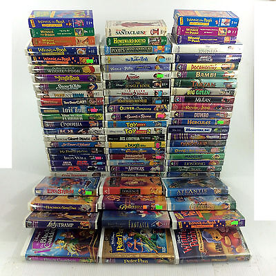 Huge Lot 73 Walt Disney VHS Movies Classic Masterpiece Kid Video Tape Collection